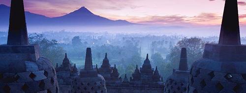 Boeddhistische Tempel Zonsopkomst bij de Borobudur