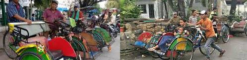 Becak in de steden van Indonesie
