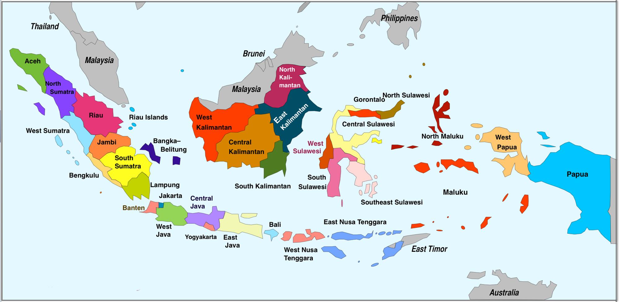 Kaart van Indonesie